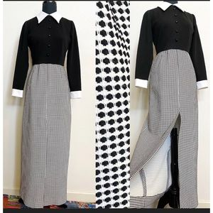 Vintage 60s Maxi Dress S Hippie Mod Black White
